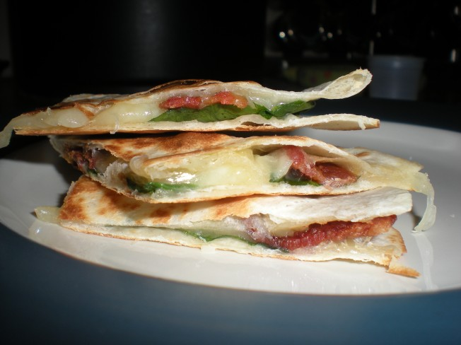 Spinach Bacon Swiss Quesadillas